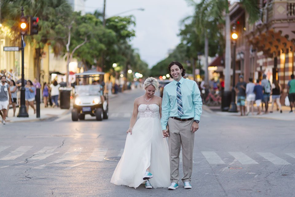 downtown key west wedding couple