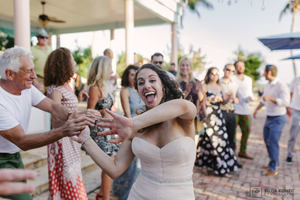 bride having fun