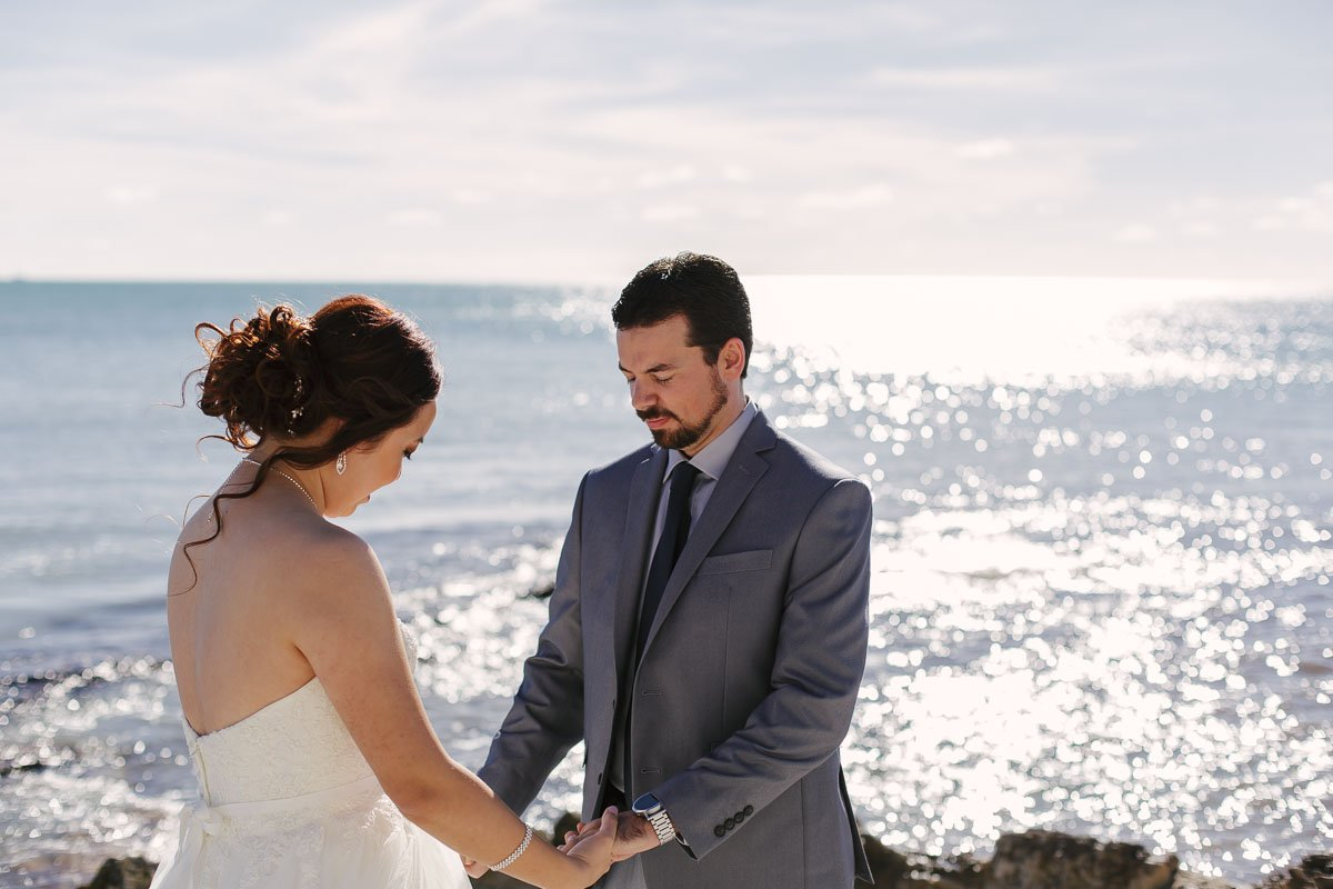 first look at beach wedding in key west florida