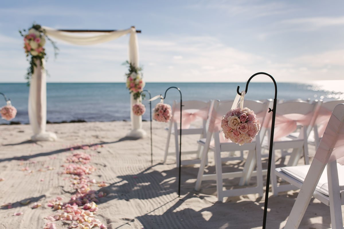 wedding ceremony setup at casa marina beach in key west florida