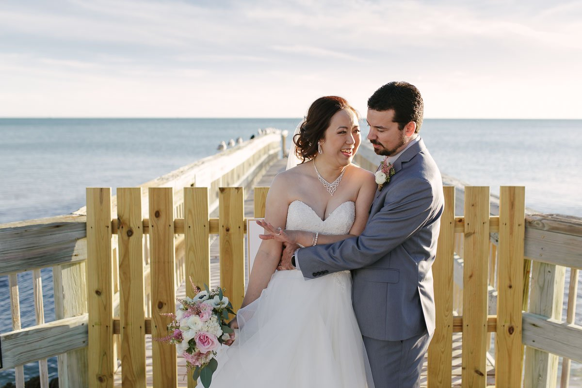 wedding photo with atlantic ocean in key west florida
