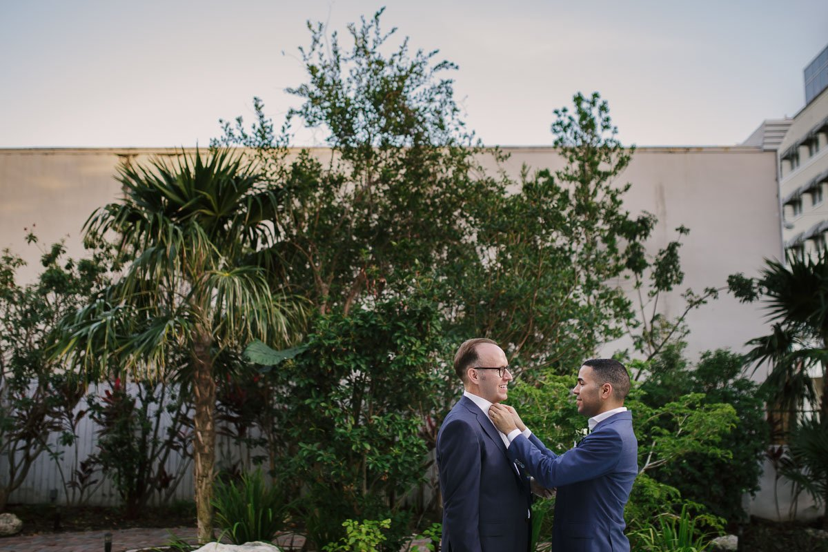 final touch before the lgbt wedding in key west florida