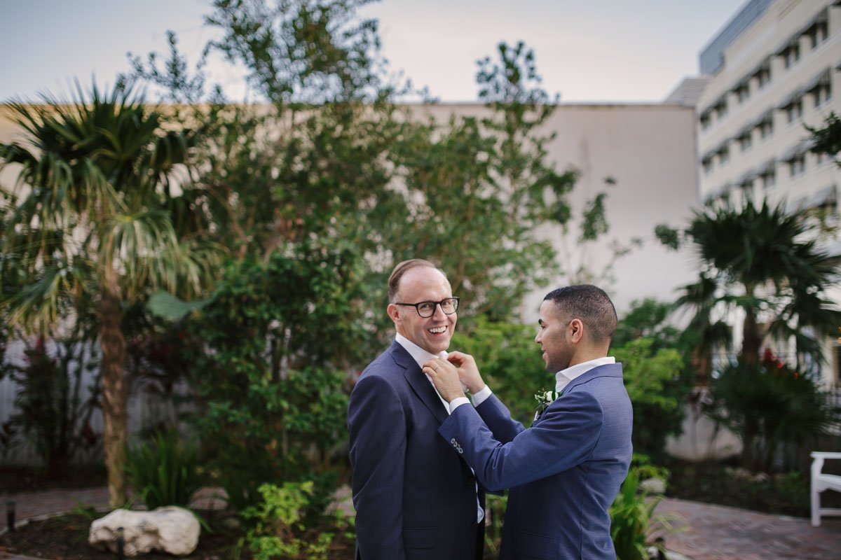wedding photographer in key west florida captures two grooms near duval street