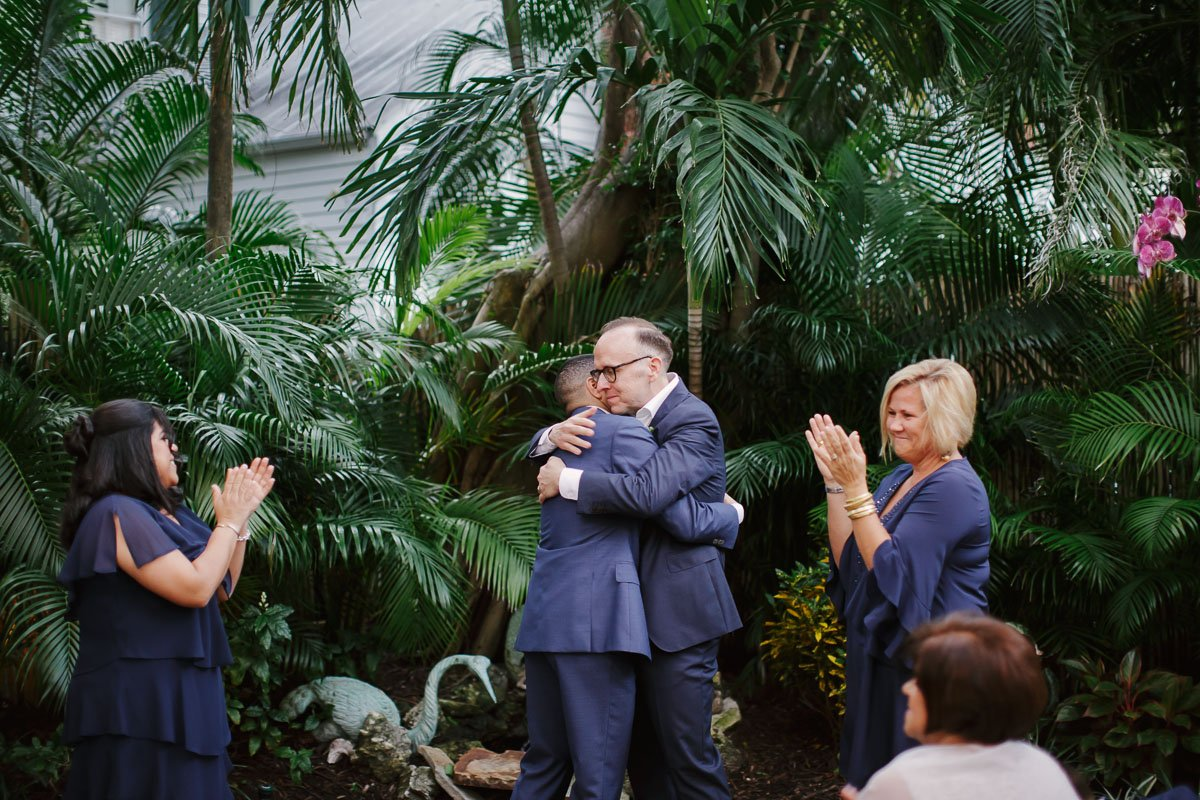 two grooms married at old town manor in key west florida, lgbt wedding