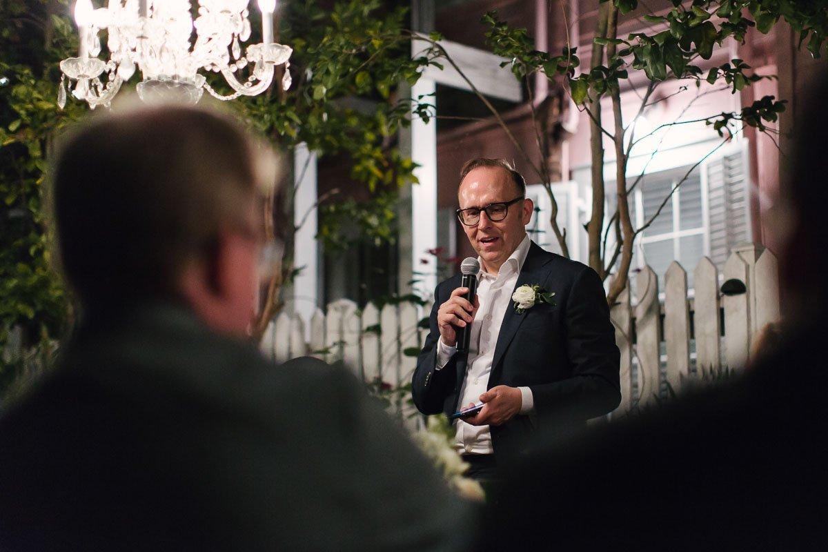 groom giving a speech at key west wedding
