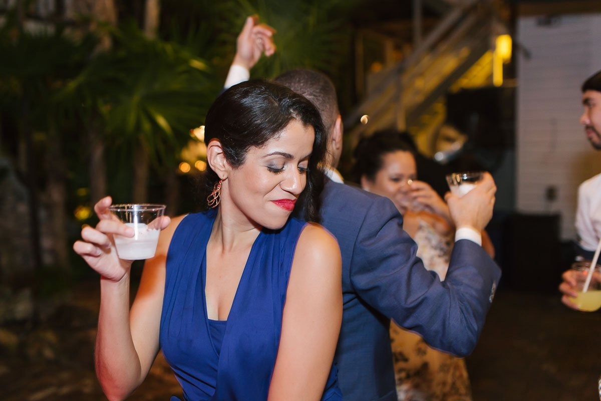 guest dancing at key west wedding reception