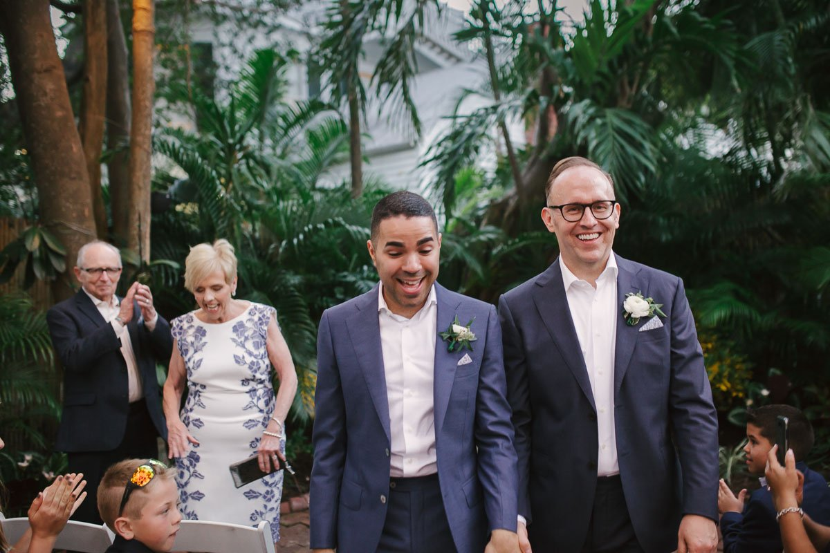 2 grooms at wedding ceremony in key west florida