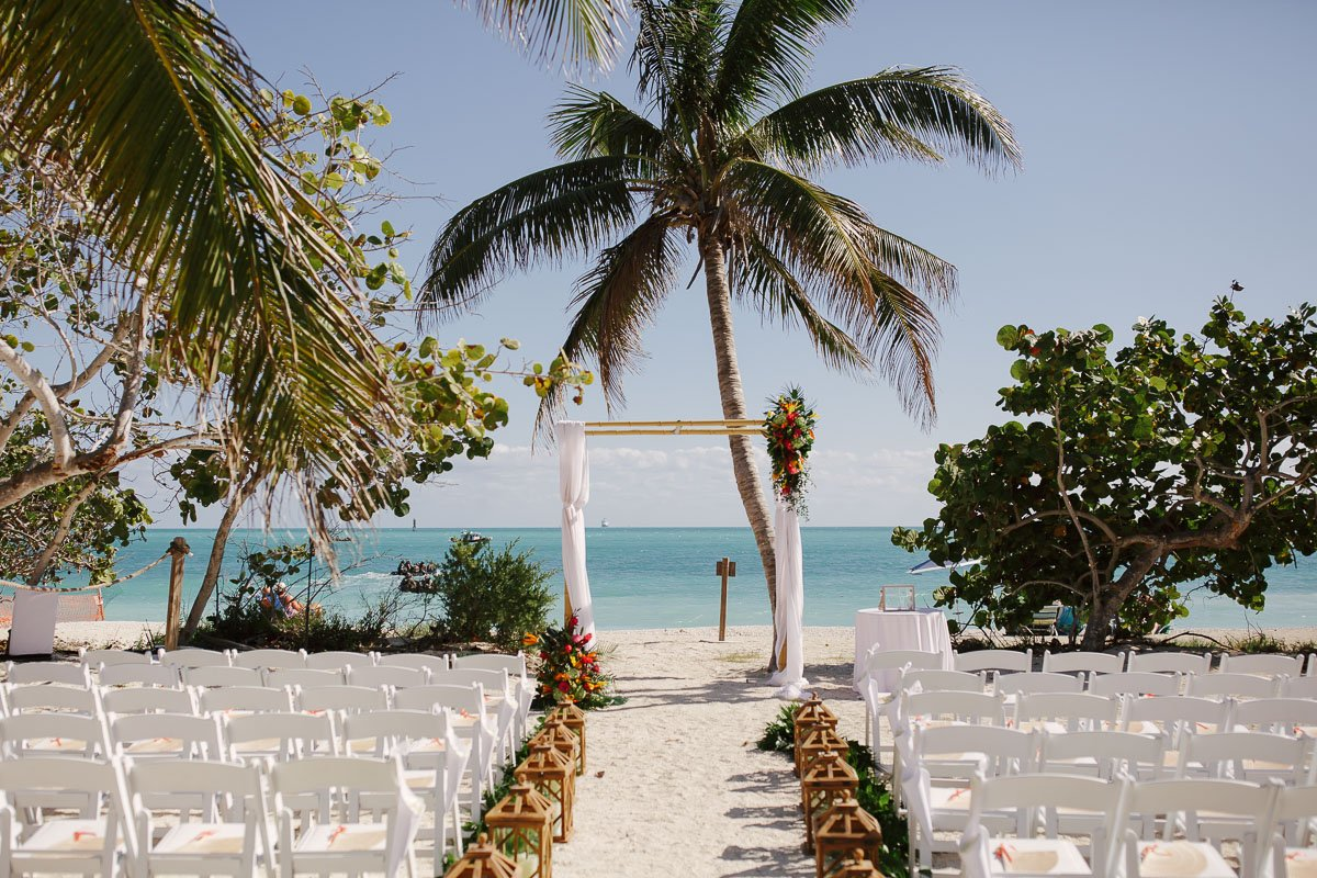 key west beach wedding ceremony setup