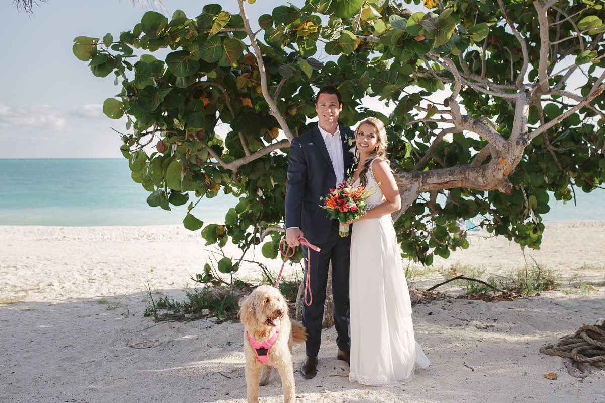 newlyweds with their dog in key west
