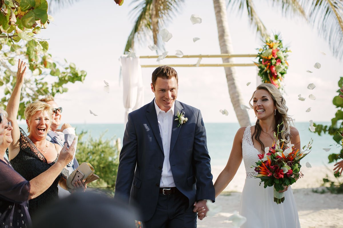 rose petals at key west wedding ceremony