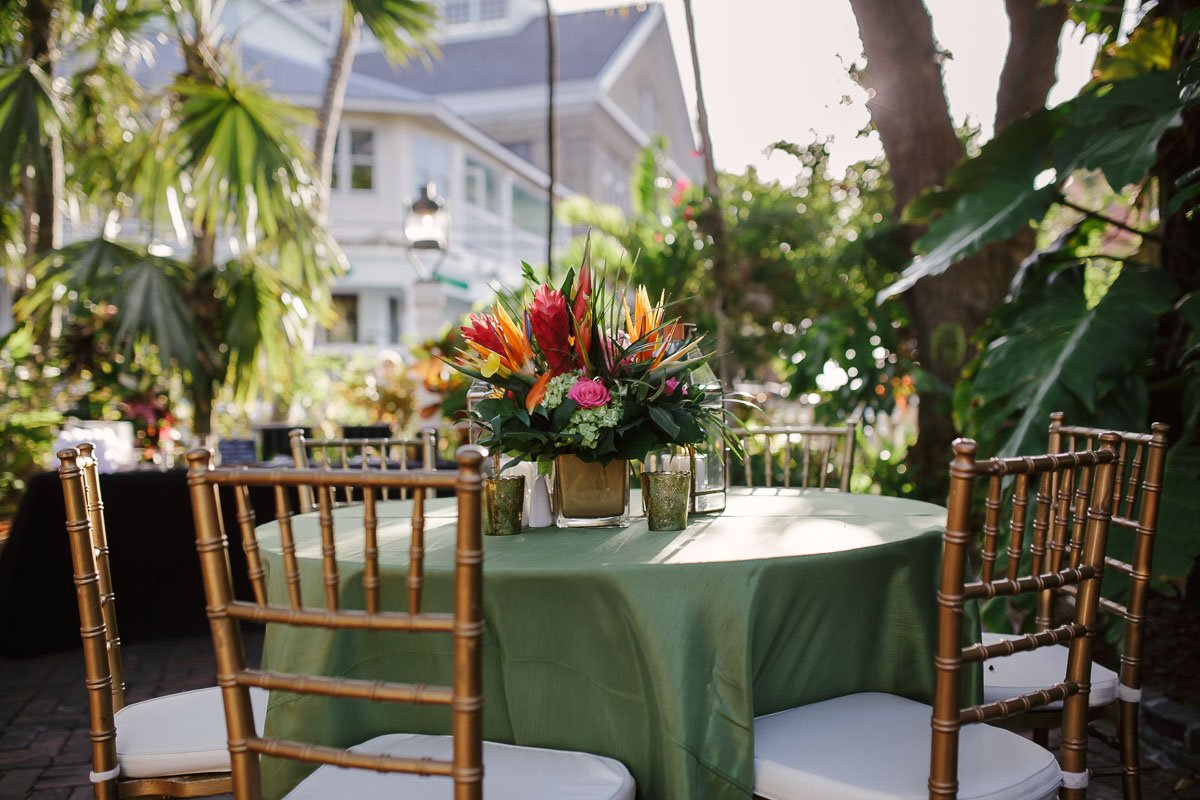 table setup at audubon house wedding