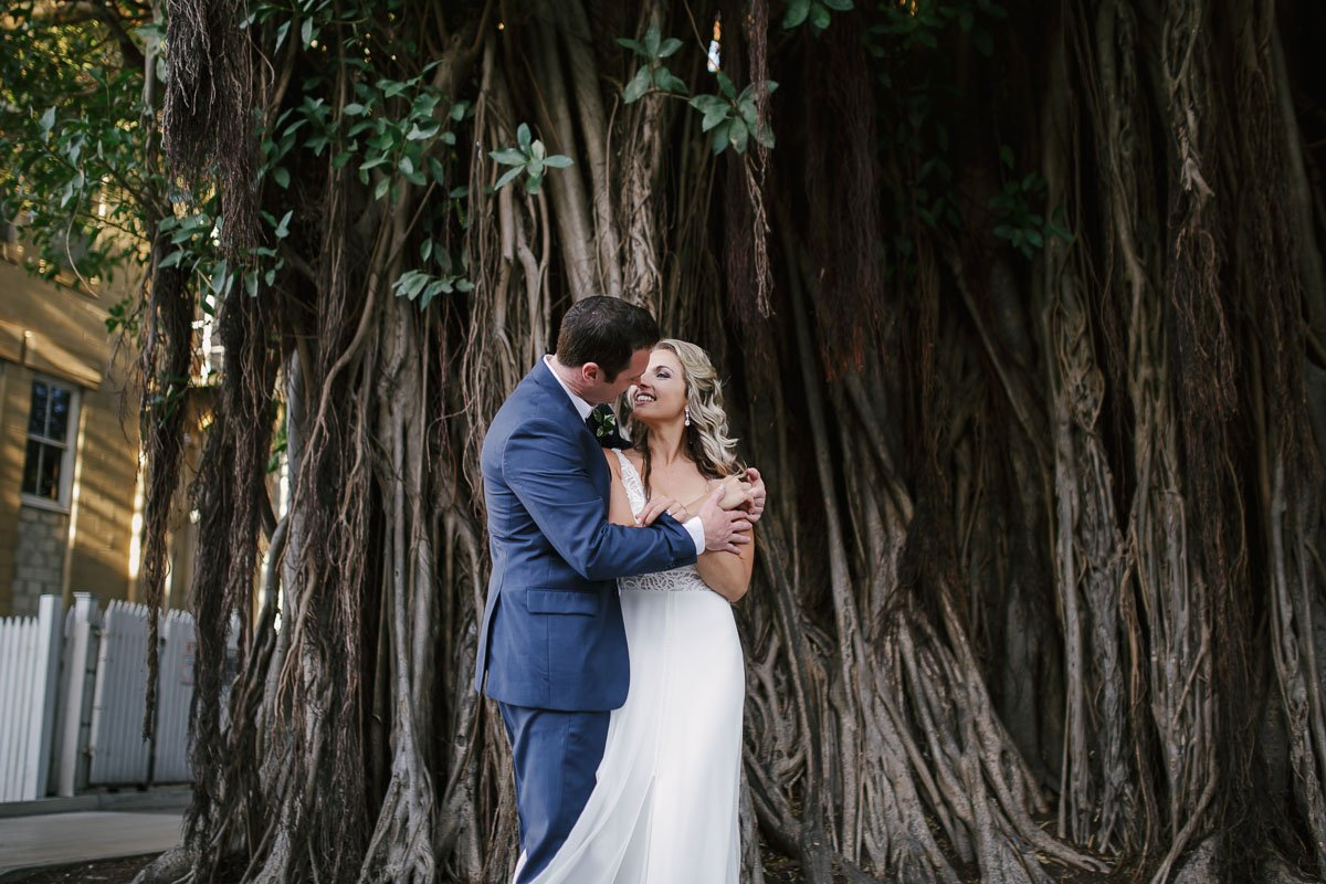 married couple by famous banyan tree in key west