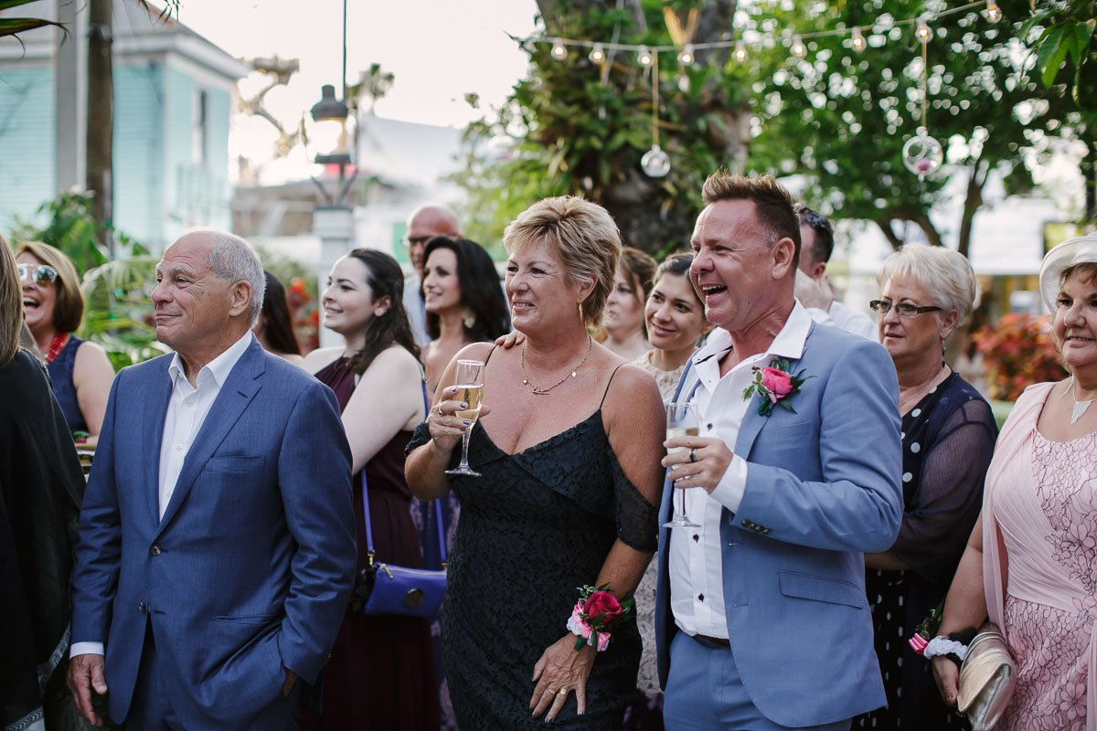 families celebrate at key west wedding