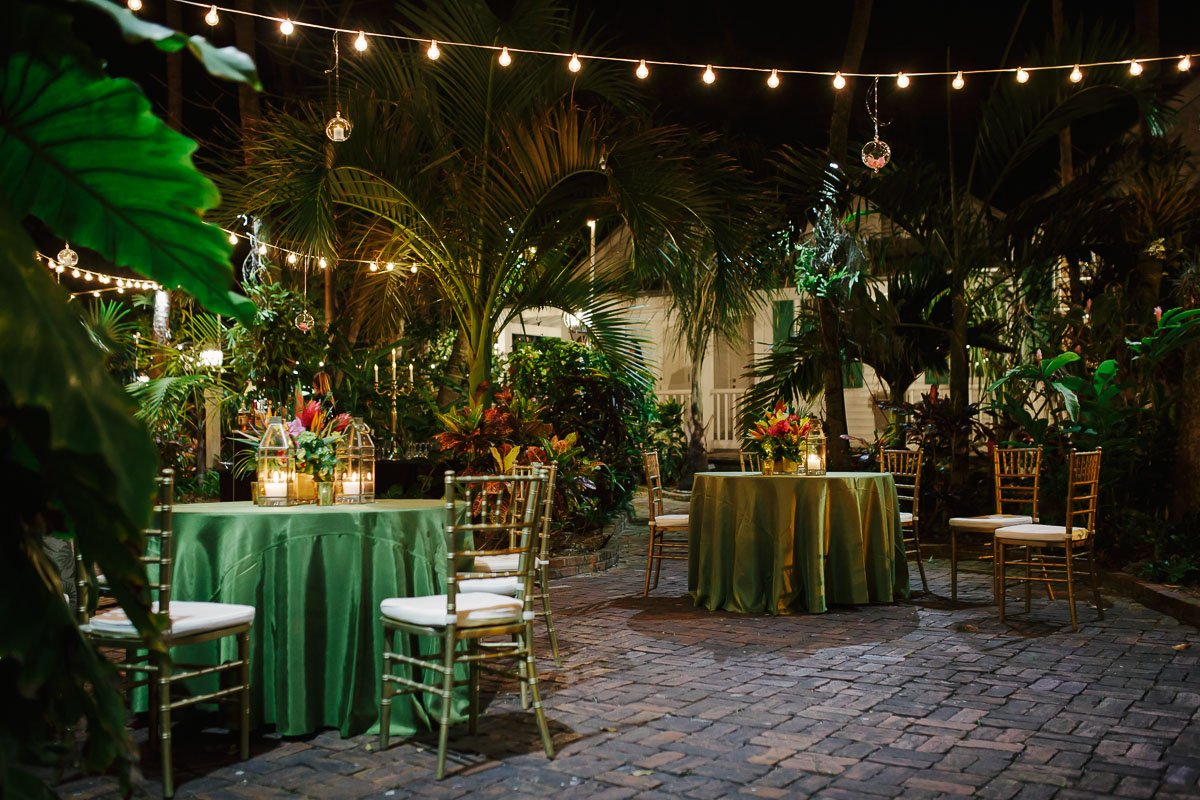 audubon house key west wedding reception setup
