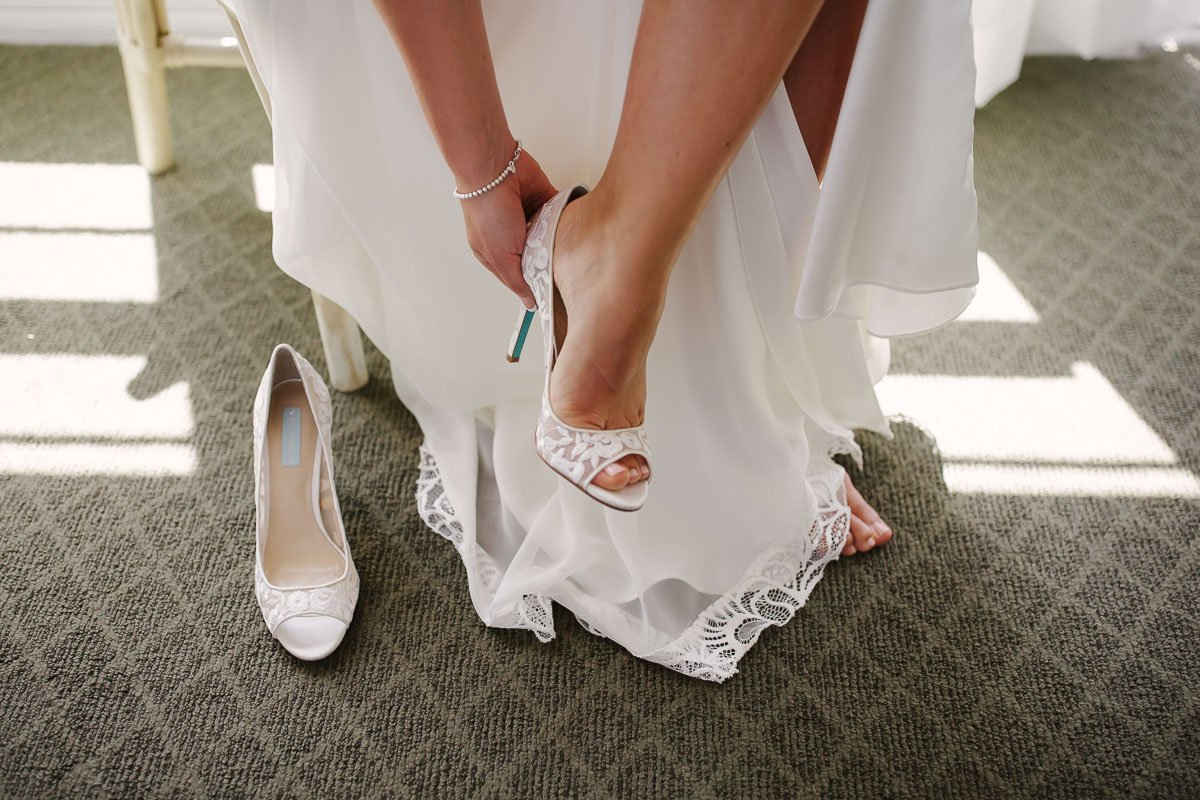 bridal shoes closeup