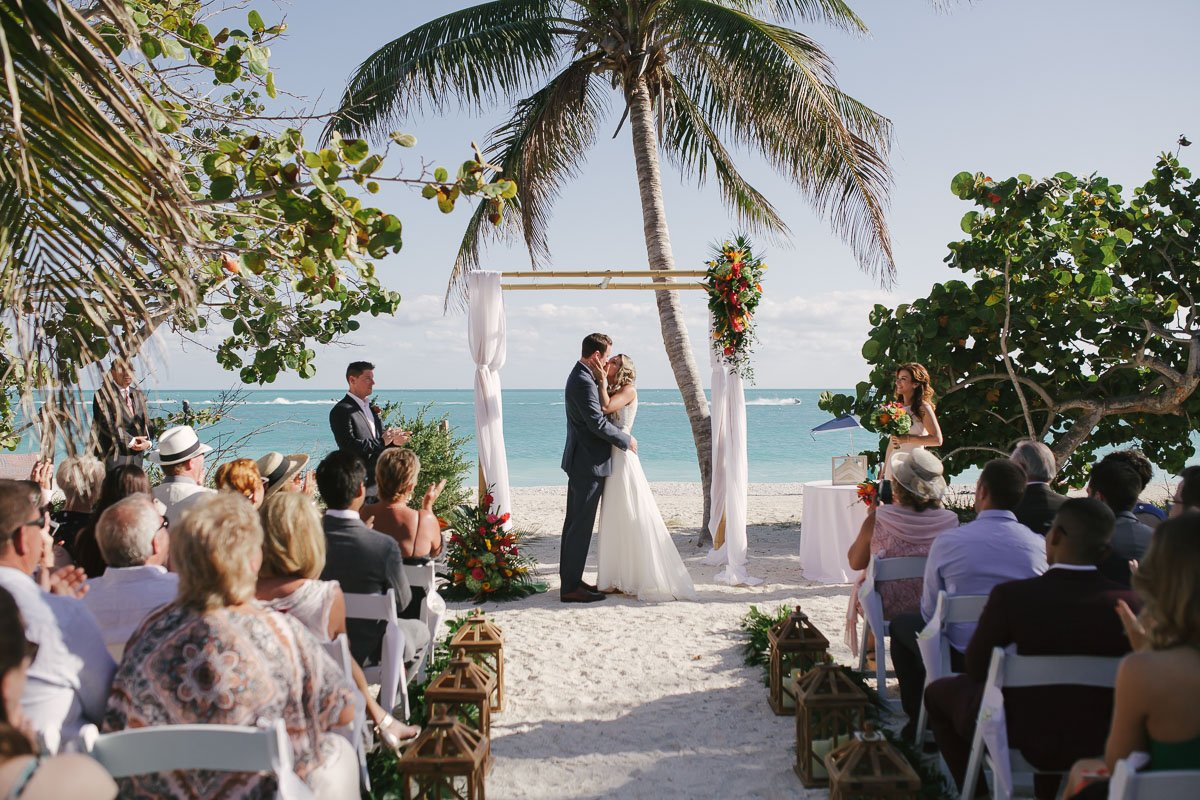 first kiss at the beach wedding in key west