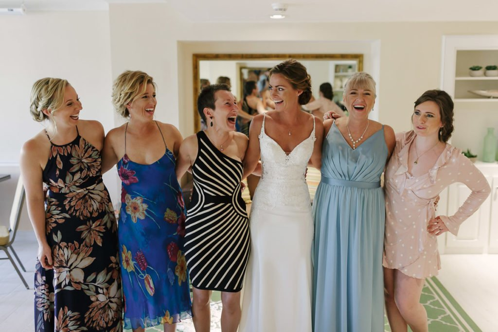 bride with her girls at ocean key resort in key west