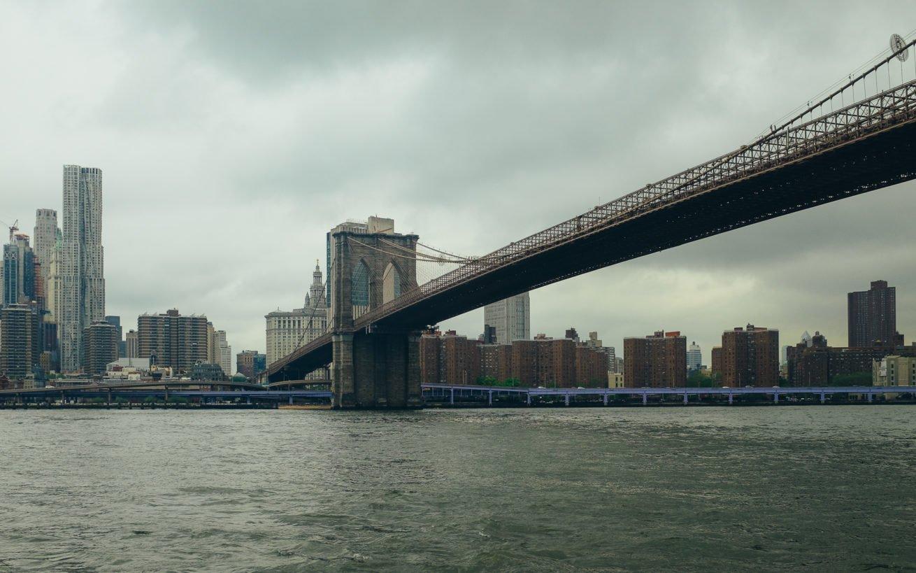 brooklyn bridge seen from the ferry