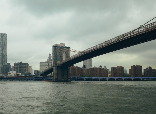 brooklyn bridge seen from the ferry