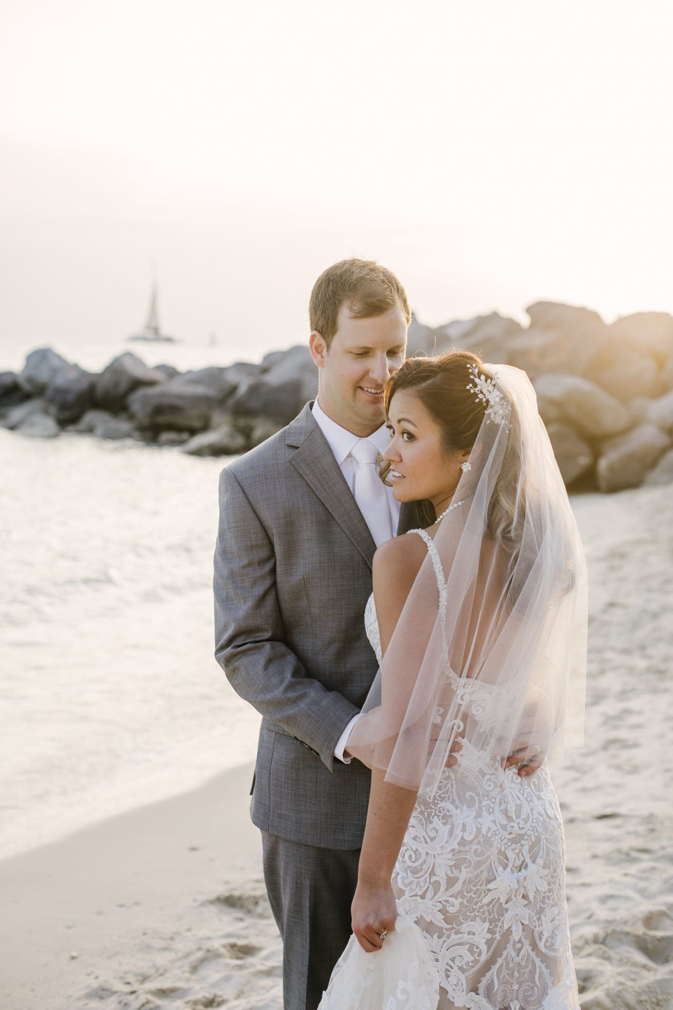 key west bride and groom portrait